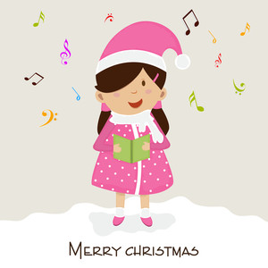 Little cute girl holding a book for Merry Christmas celebration on musical notes decorated background.