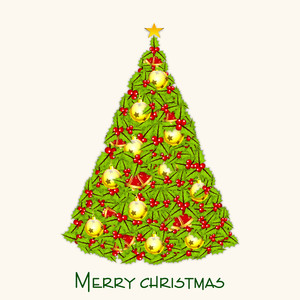 Beautiful Xmas tree decorative by mistletoe and X mas ball for Merry Christmas celebration on beige background.