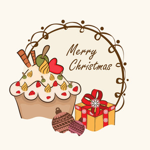 Merry Christmas celebration greeting card design with gif box