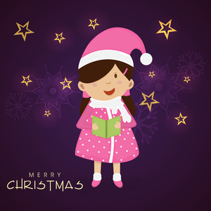 Little cute girl holding a book for Merry Christmas celebration on stars and snowflake decorated purple background.