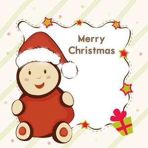 Greeting card or invitation card for Merry Christmas celebration with stylish text on frame and Santa Claus toy over stylish background.