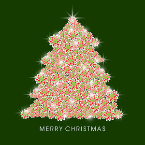 Merry Christmas celebration with Xmas tree decorated by colorful shiny snowflake on green background.