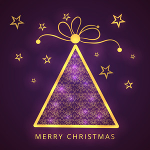 Merry Christmas celebration concept with shiny creative Xmas tree on stars decorated purple background.