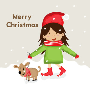 Cute cartoon of a girl in Santa cap walking with puppy on snow for Merry Christmas celebration over winter background.