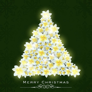 Beautiful Xmas tree made by flowers for Merry Christmas celebration on green background.