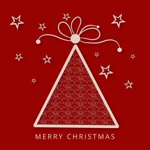 Merry Christmas celebration greeting card with creative stylish Xmas tree on stars decorated red background.