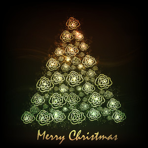 Merry Christmas celebration concept with Xmas tree made by flowers on abstract brown background.