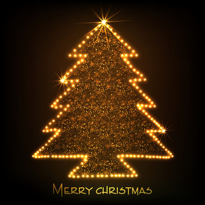 Merry Christmas celebration concept with shiny golden stylish Xmas tree on brown background.