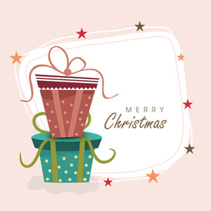 Merry Christmas celebration with gift boxes and stylish text on a frame decorated by stats over light pink background.