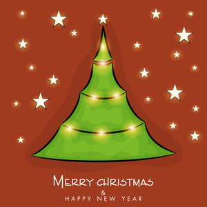 Merry Christmas and Happy New Year celebration poster with creative Xmas tree on stars decorated brown background.