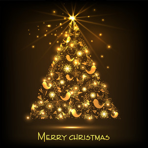 Shiny golden Xmas tree for Merry Christmas celebration on brown background