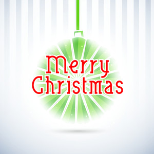 Stylish text of Merry Christmas with hanging decoration ball on linen background.