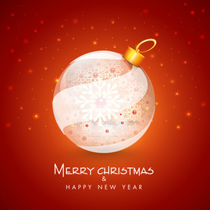 Merry Christmas and Happy New Year celebration with decorative Xmas ball on bright red background.