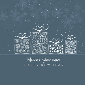 Merry Christmas and Happy New Year celebration poster with gift boxes