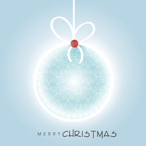 Beautiful hanging christmas ball for Merry Christmas celebration on stylish blue background