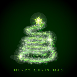 Shiny stylish green Xmas tree design for Merry Christmas celebration on green background.