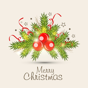 Merry Christmas poster or greeting card with firtree