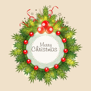 Stylish rounded frame of Merry Christmas decorated by fir leaves