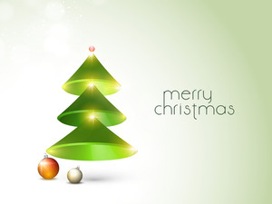 Creative shiny Xmas tree and Xmas ball for Merry Christmas celebration on stylish background.