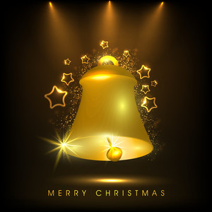 Shiny golden bell with stage light for Merry Christmas celebration on dark brown background