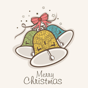 Floral decorated colorful jingle bells for Merry Christmas celebration on beige background
