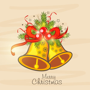 Merry Christmas celebration greeting card or invitation card with jingle bell and mistletoe on beige background.