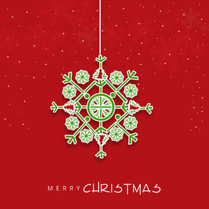 Colorful hanging snowflake for Merry Christmas celebration on shiny red background.