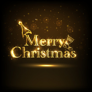 Merry Christmas celebration poster with shiny golden text on stylish brown background.