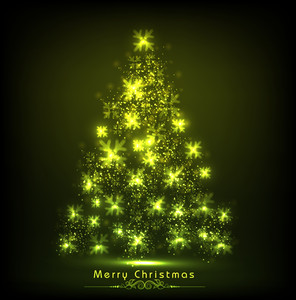 Merry Christmas celebration concept with shiny green Xmas tree and stylish text on green background.