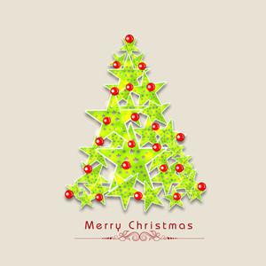 Stars decorated Xmas tree with stylish wishing text on beige background.