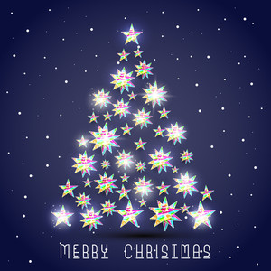 Colorful stars decorated shiny Xmas tree with stylish text on blue background.