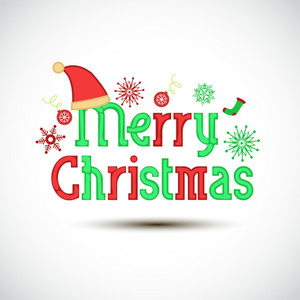 Stylish text of Merry Christmas on shiny white background.