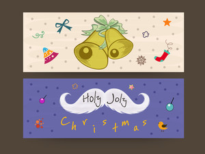 Merry Christmas webiste hearder or banner with jingle bell