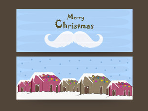 Merry Christmas website header or banner with snow