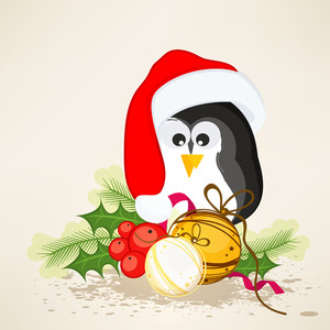 Cute penguin in Santa cap with Xmas ball and mistletoe for Merry Christmas celebrations.