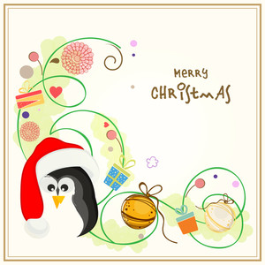 Merry Christmas celebrations greeting card design decorated with Xmas ornaments