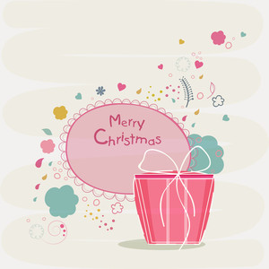 Merry Christmas celebrations poster or greeting card design with wishing text and gift box on stylish background.