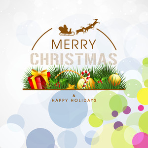 Beautiful greeting card design for Merry Christmas and Happy Holidays decorated with Xmas ornaments on stylish colorful background.