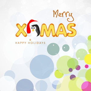 Merry Christmas and Happy Holidays celebrations poster or greeting card design with stylish text and penguin in santa cap on stylish colorful background.