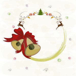 Merry Christmas celebrations greeting card design with free space for your message