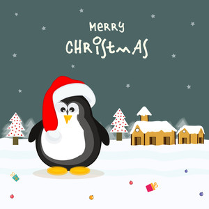 Cute penguin in Santa cap for Merry Christmas celebrations on winter background.