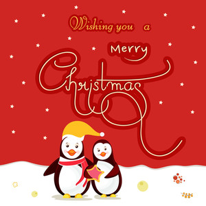 Beautiful greeting card design for Merry Christmas celebrations with penguins and stylish text on stars decorated red and white background.