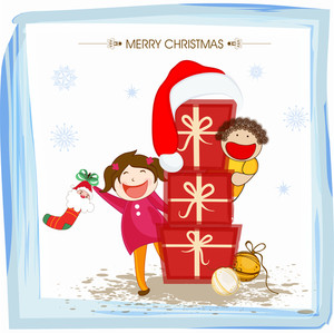 Cartoons of little boy and girl celebrating Merry Christmas with gifts on snowflakes decorated background.