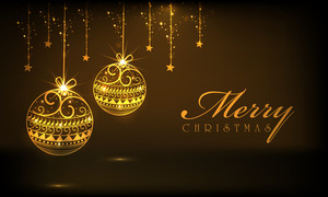 Beautiful golden hanging Xmas balls and stars on brown background for Merry Christmas celebrations.