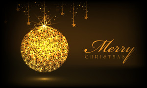 Shiny decorative Xmas ball with hanging stars on brown background for Merry Christmas celebrations.