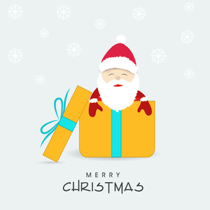 Cute Santa in gift box for Merry Christmas celebration on snowflake decorated background.