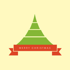 Merry Christmas celebration concept with Xmas tree on beige background.