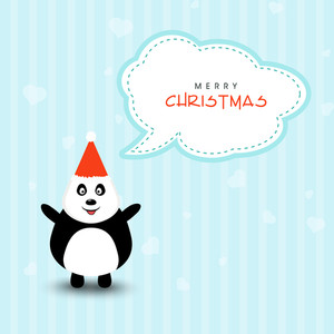 Cute cartoon of a penguin in Santa cap saying Merry Christmas on stylish background.