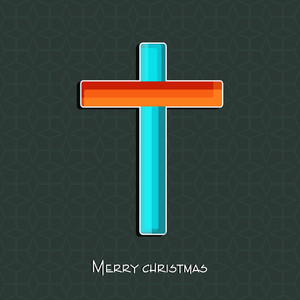 Merry Christmas celebration concept with christian cross in orange and blue color on seamless green background.