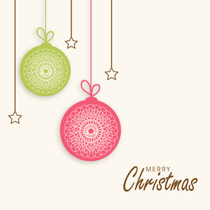 Merry Christmas celebration poster with hanging Xmas balls